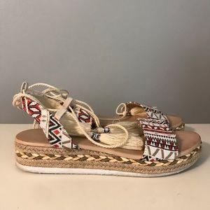 Ankle wrap platform sandals